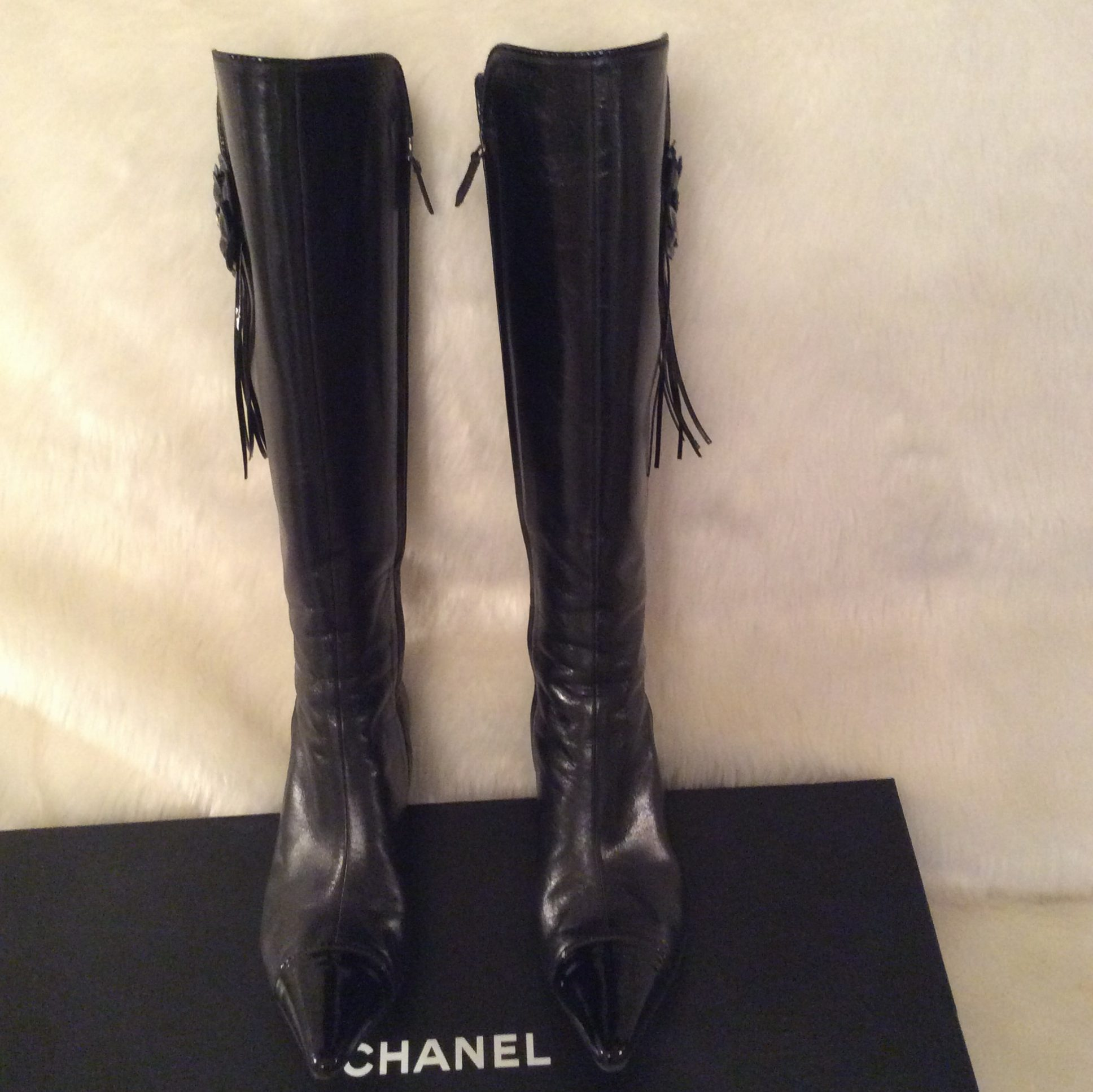 chanel knee high boots. chanel-authentic-vintage-black-leather-and-black-patent- chanel knee high boots 1