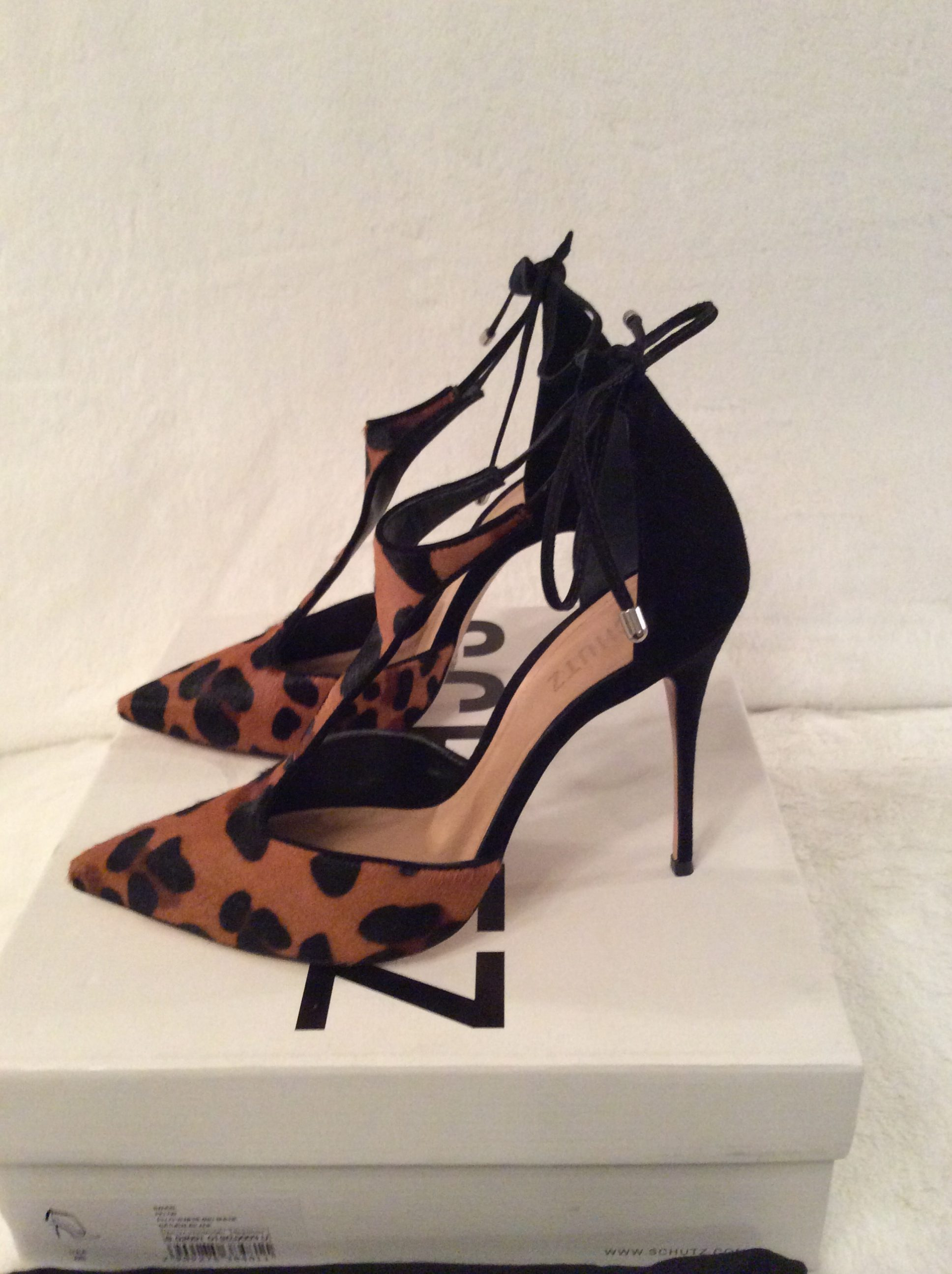 SCHUTZ  Authentic Leopard Pelo Venere  Black Kid Suede T-Strap Ankle  Adjustable Tie Closure Stiletto Pointed Heel Pumps. 65e14c3c3