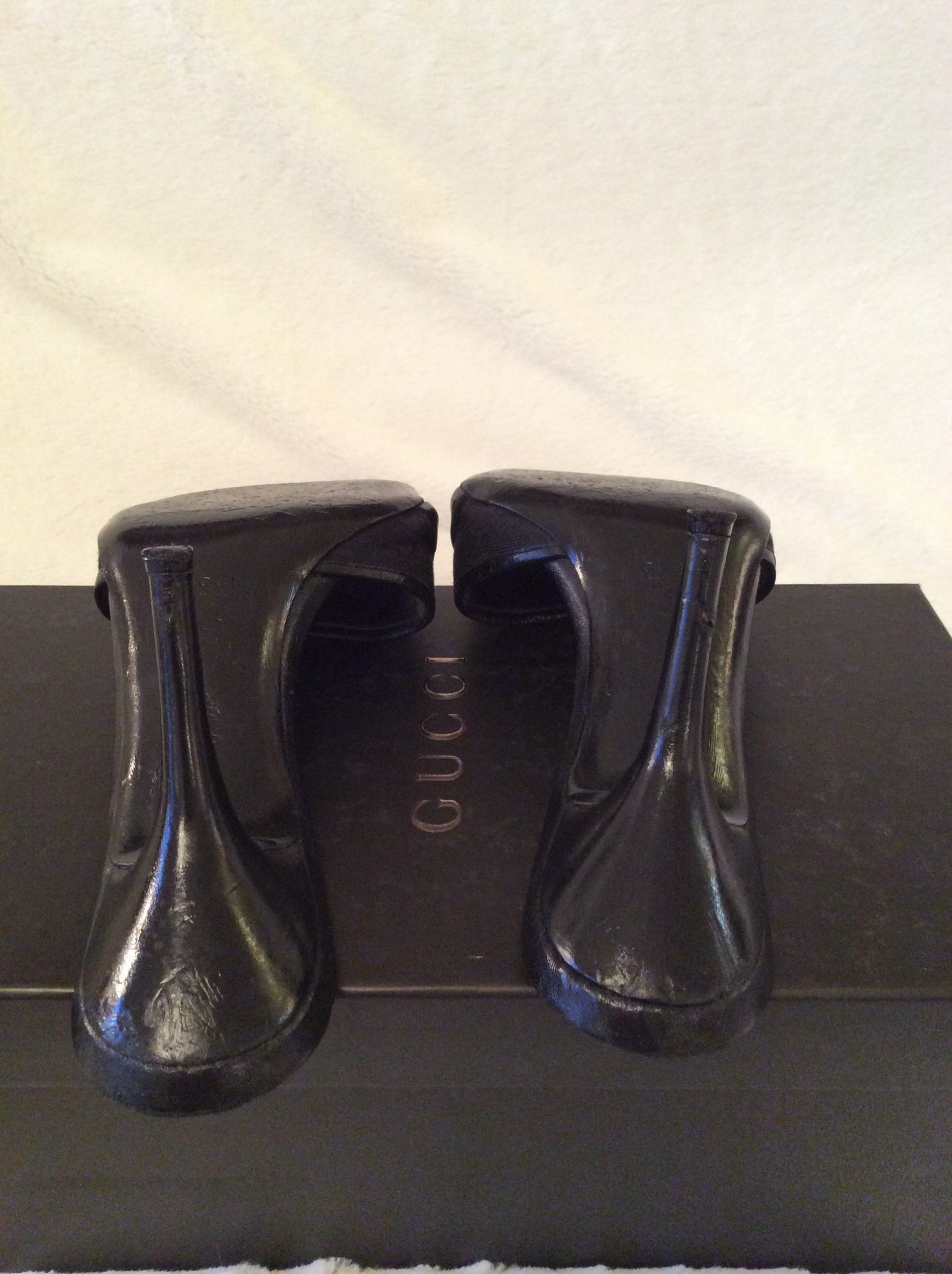 0ef17771136 Gucci  Authentic Horsebit Black Canvas Black Leather Trim Monogram Open Toe  Hollywood Slide Sandal Heels