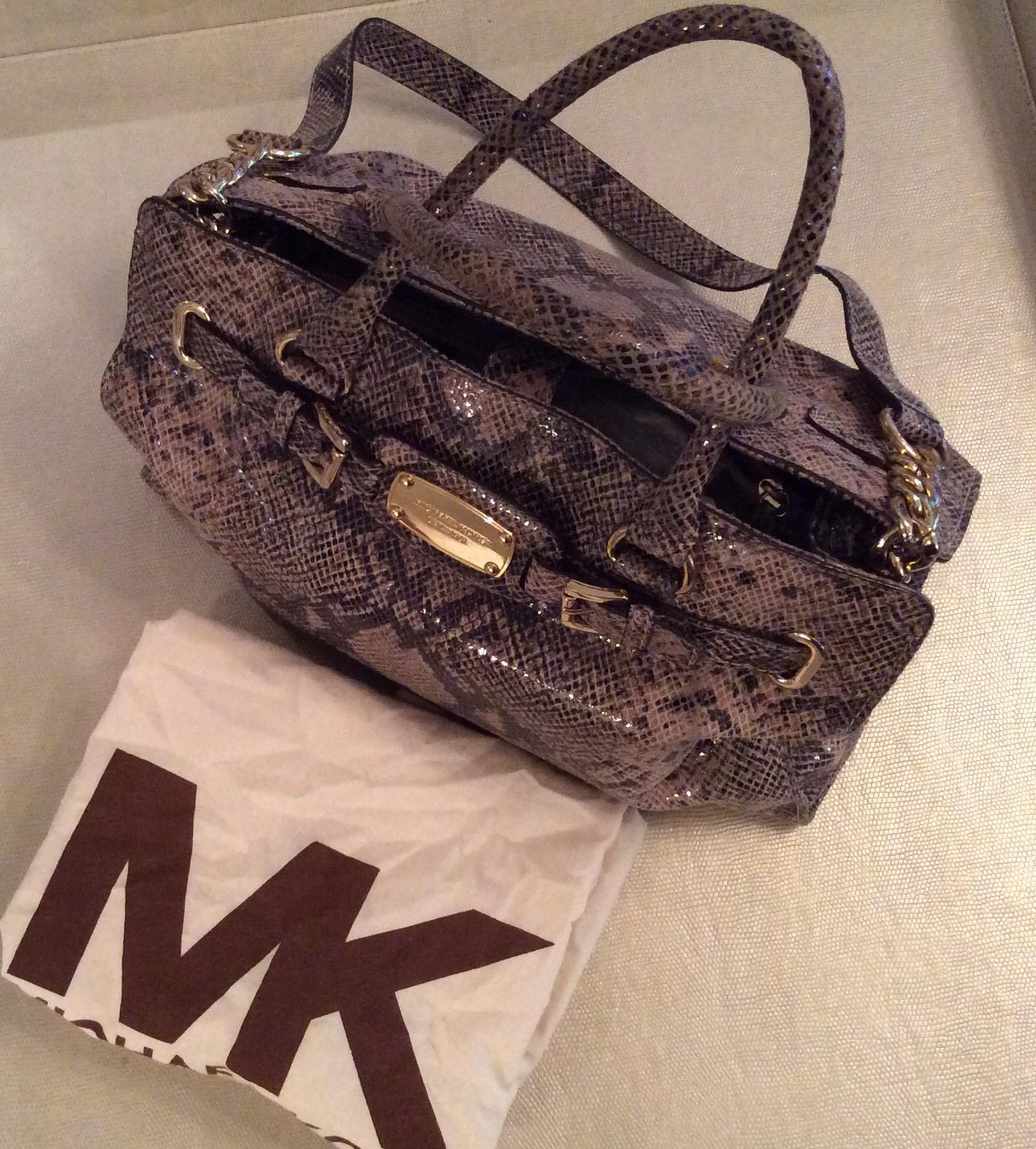 Michael Kors Authentic Large Hamilton Soft Snakeskin Leather Satchel Handbag