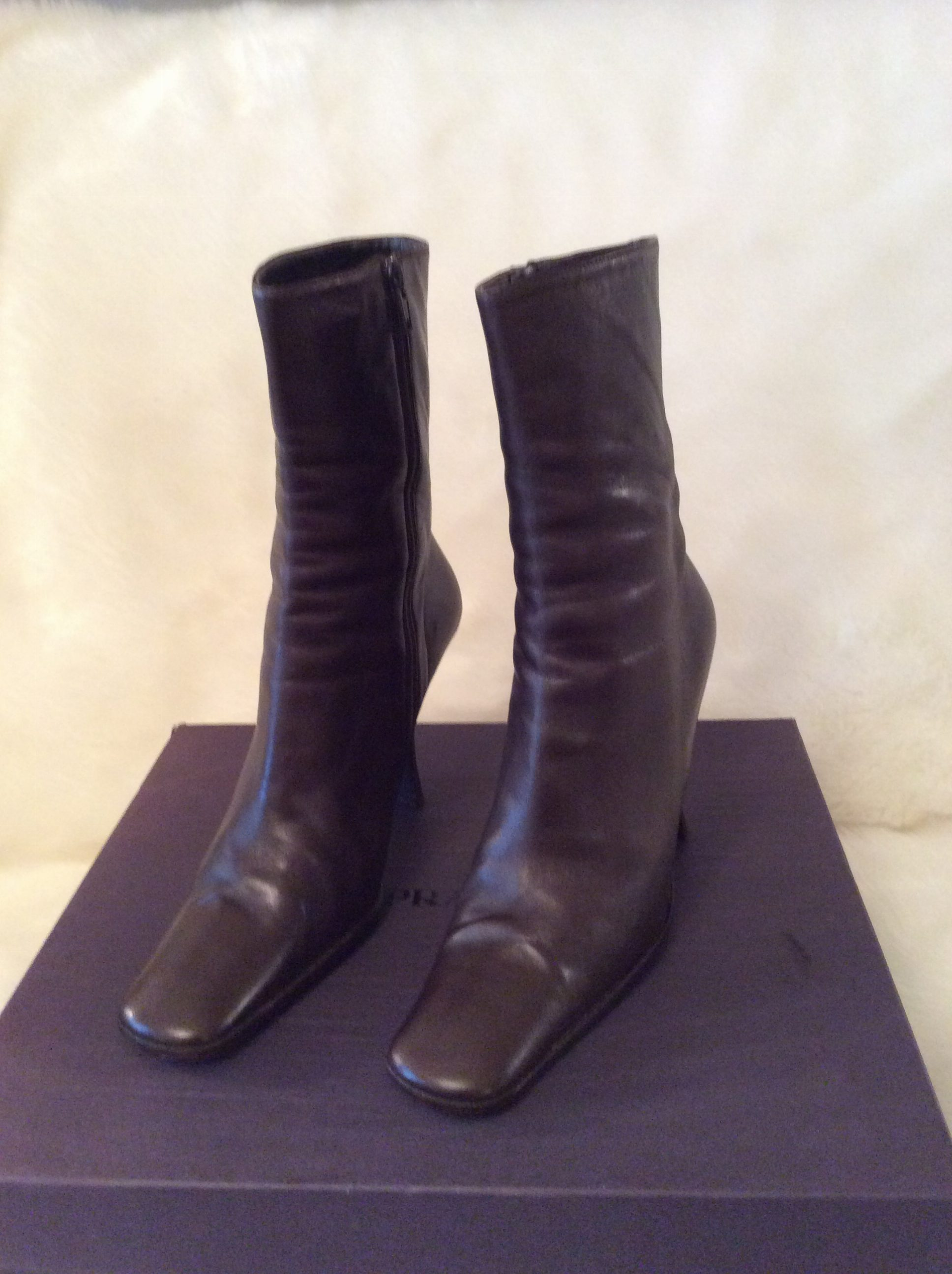 9b581fd9bd03 Prada  Authentic Vintage Chocolate Brown Leather Above Ankle Bootie Square  Toe Heels